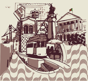 Lisbon, Emblem, Travel Guide Lisbon, Bairro Alto, city Illustration, Graphic designer Glos,